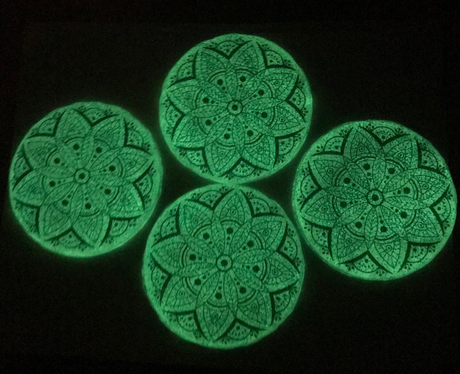 Green Glitter Coaster with Large Colorful Mandala